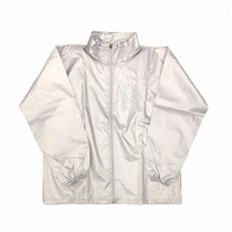 Campera Rompeviento Impermeable Tela Silver Con Capucha