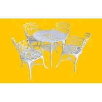 Conjunto Viena 1 Mesa E 4 Cadeiras Alumínio Jardim