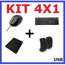 Kit Multimidia Mouse Caixa De Som Mouse Pad Novo Garantia