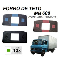 Forro Teto Caminhão Mb 608 708 Veludo - Azul Preto Vermelho