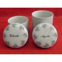Kit Higiene Porcelana Porta Algodão Cotonete Gravado A Mão