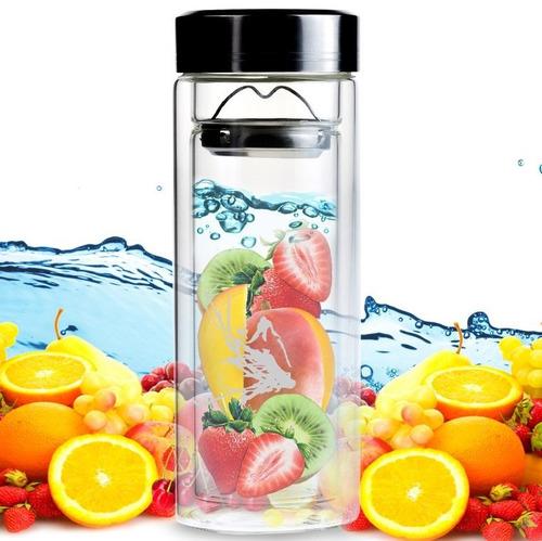 Botella infusor de cristal para te o frutas naturales for Frutas de cristal
