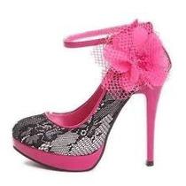 Zapatos Pumps Zapatillas Fiesta Boda Encaje Y Flor
