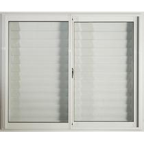 Ventana Aluminio Blanco 120 X 100 Con Vidrio Y Postigo