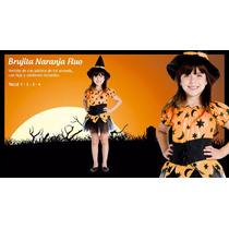 Disfraz Bruja Con Gorro Halloween Rosa Naranja Flúo Local