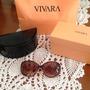 Óculos De Sol Vivara Marrom E Pêssego Lente Marrom Escuro