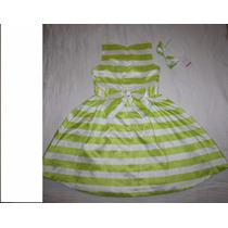 Gymboree Vestido De Fiesta Satinado Verde/blanco T8 $359