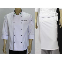 Kit Doma E Avental Chef Gastronomia, Cozinheiro Uniforme