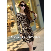 Vestido Curto Manga Longa Leopardo Importado