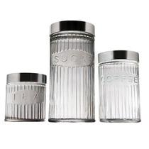 Conjunto Potes Para Mantimentos 3 Peças De Vidro - Euro Home