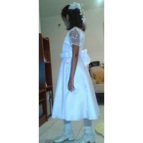 Vestido Para Primera Comunión Talla 12, Con Zapatos Blancos
