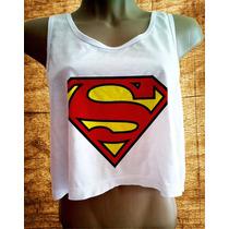 Blusa Superman Feminina Marvel Herois Regata Cavada Camiseta