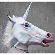 Máscara Unicórnio Cabeça De Cavalo Branco Com Chifre Látex