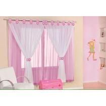 Cortina Infantil Rosa E Pink P Quarto De Menina Menino 2 Mts