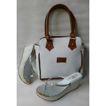 Combo Cartera Blanca + Sandalia Calzado De Dama Envío Gratis