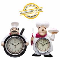 Relógio De Parede Chef De Cozinha Cozinheiro Retrô Decoração