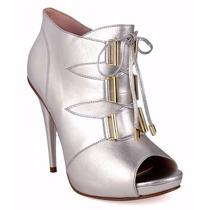 Zapatos Botines Abiertos Peep Toe Andrea Plateados De Piel