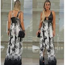 Vestido Feminino Longo Fenda Malha Bojo Estampado