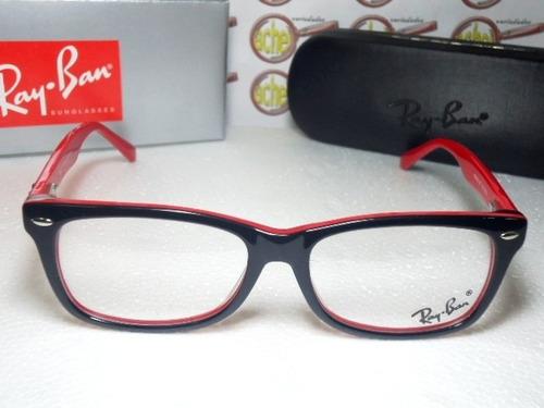 8cacfe01f63fa Armação Oculos Grau Rb5228 Wayfarer Preto E Vermelho Ray-ban - R  97 ...