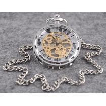 Reloj Moda De Bolsillo Cuerda Mecanico Skeleton