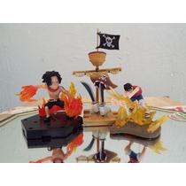 Mini Escenarios One Piece Luffy Ace Barco Fantasma Poderes