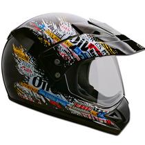 Capacete Moto Ebf Com Viseira Motard Gas Cross 58 Cor Preto