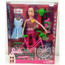 Barbie Ciclista Articulada Com Patins E Vestido Extra