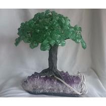 Árvore Luminária De Pedra Quartzo Verde