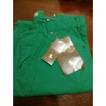 Pantalon Jean De Color Verde Talles Grandes