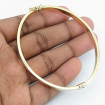 6540 Pulseira De Argola Tipo Algema 18 Cm De Ouro 18k 750