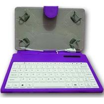 Capa Case Com Teclado Para Tablet 7-pol Silicone Cor Lilás