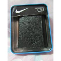 Billetera Negra De Cuero Genuino Nike Original Y Nueva