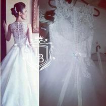 Vestido Noiva Princesa Elegante Perola Renda Pronta Entrega