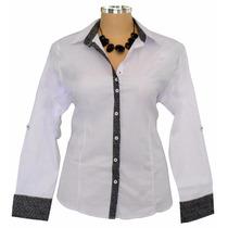 Camisa Social Feminina Plus Size Dudalinda Flor Até 52