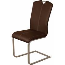 Cadeira Jantar Milano Couro Madeira Multilaminada Aço Inox