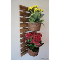 Painel Madeira Parede Jardim Vertical 2 Vasos Fibra Coco