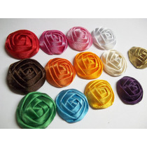 Flores De Cinta Y Tela Mini Botón Para Lazos Recien Nacidos