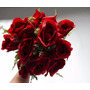 10 Buque De Rosa Artificiais Vermelha Decoração Arranjos