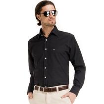 Camisa Preta Maquinetada Slim Fit Social Buon Giorno Elias