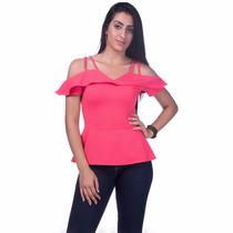 Blusa Feminina Tricoline Rosa - Juni Fashion - 2217
