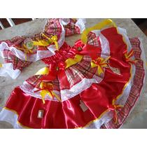 Vestido Junino Luxuoso, Enfeitado Artesanal 0 A 6 Anos Luxo