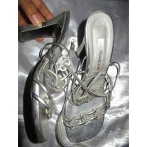Zapatos Plateados De Fiesta Usados Talla 37 Taco 9 B30