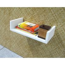 Prateleira Decorativa Mdf Branco 40 X 25cm - Livros Enfeites