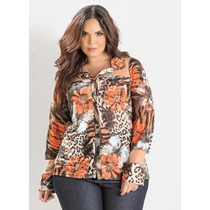 Camisa Estampada Animal Print Plus Size Blusão Camiseta