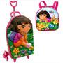 Mochila Infantil C/ Rodinhas 3d + Lancheira Dora Aventureira