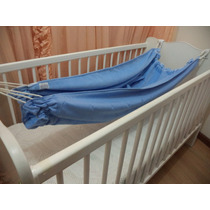Rede De Dormir Para Berço Em Plush Azul E Tricoline Poás