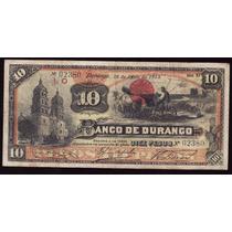 Bk-dur-21 Billete Del Banco De Durango De 10 Pesos