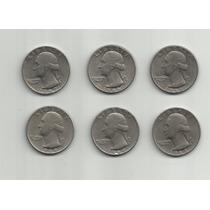 Ltc012: 6 Monedas De I/4 Dólar De Ee.uu. De 1965 A 1969.