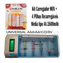 Kit Carregador + 4 Pilhas Aa 2600mah + 4 Aaa 2300mah Cb795