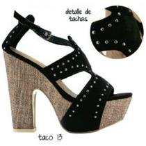 Zapatos Sandalias Negro Plataforma Taco 13 Talla 38 Nuevos!!